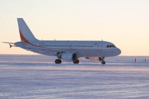 SkyTrader's A319 on the ice runway in Antarctica