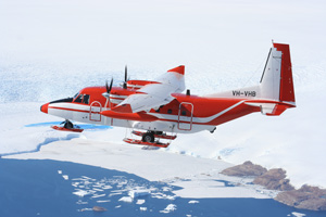 SkyTraders CASA C212 flying over Antarctica